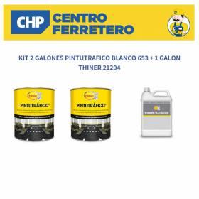 KIT 2 GALONES PINTUTRAFICO BLANCO 653 + 1 GALON THINER 21204 Pintuco - 1